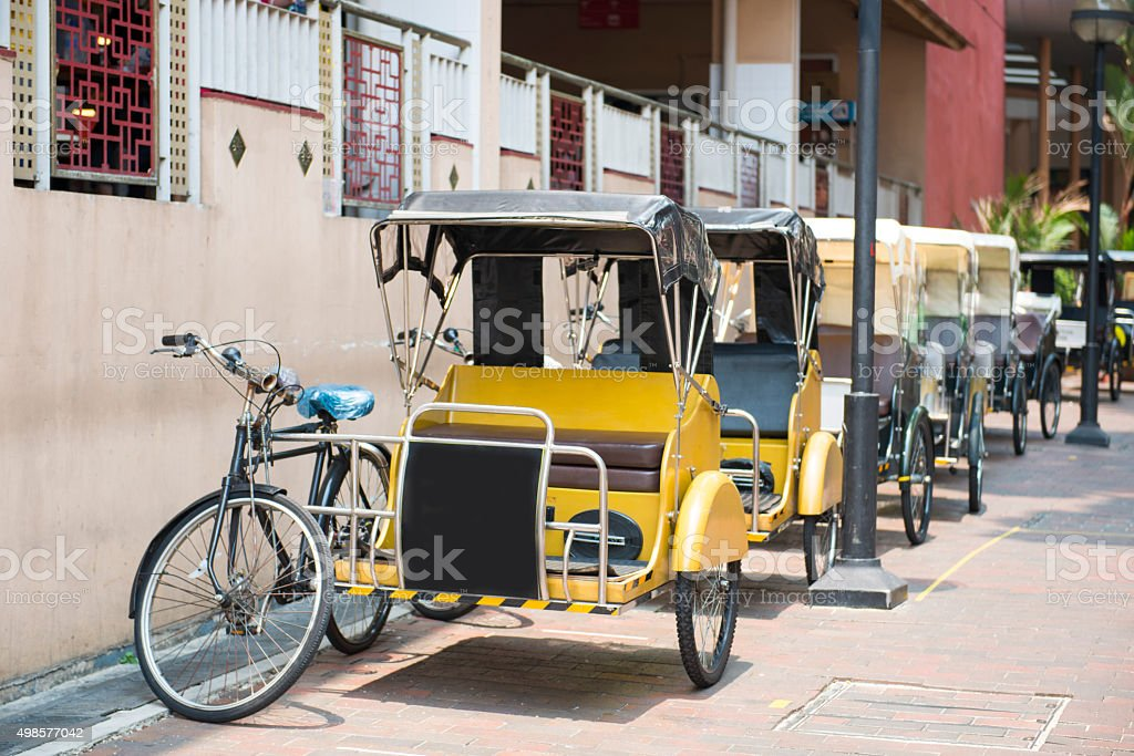 Pedicab service for travel in Singapore town stock photo