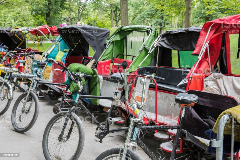 Pedicabs for rental at Central Park, New York City, USA. stock photo