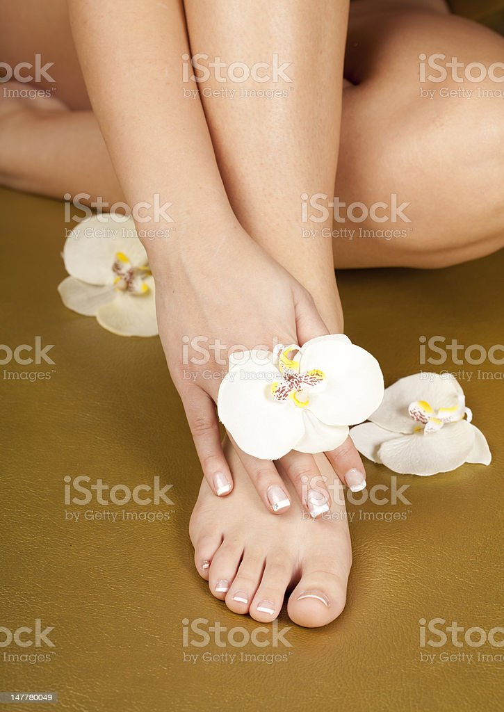 pedicure foot with french manicure stock photo