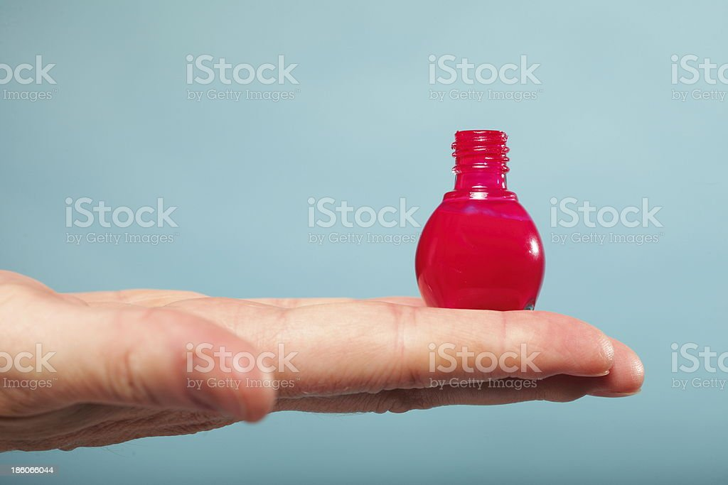 Pedicure Manicure Red Nail Polish On Female Palm Stock Photo & More ...
