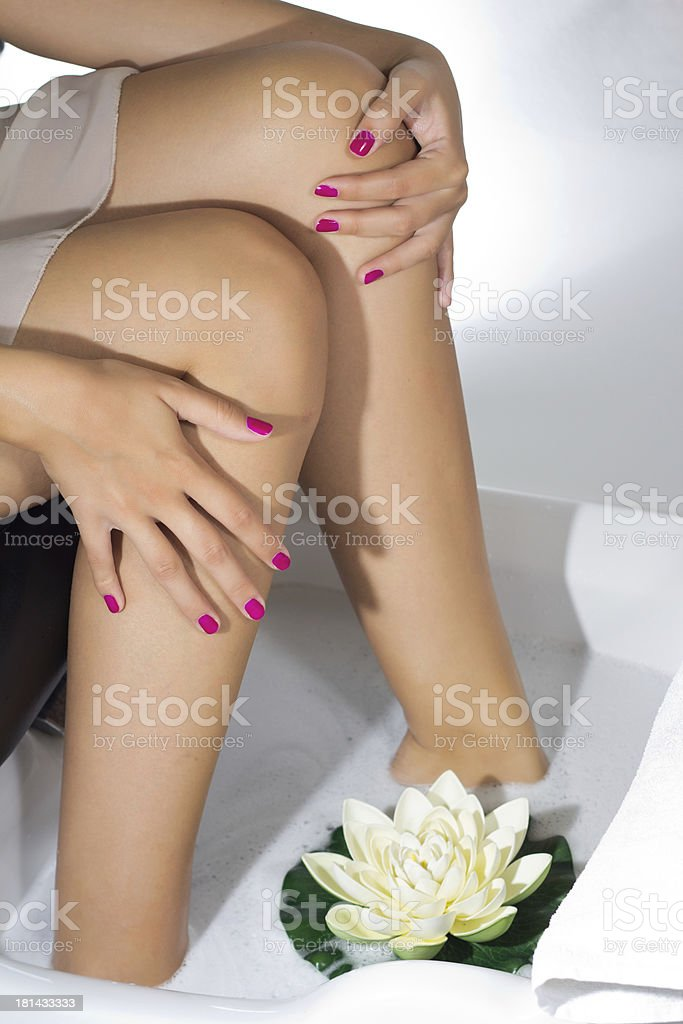 Pedicure on foot stock photo