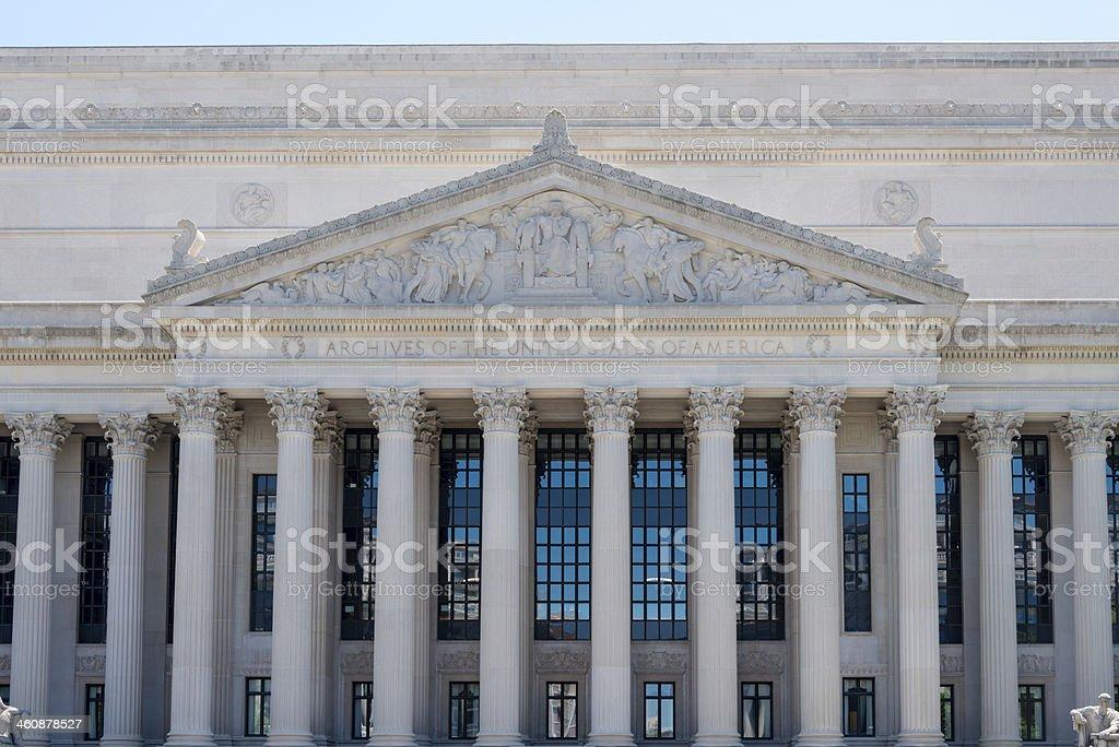 Pediment of the United States Archives -XXXL stock photo