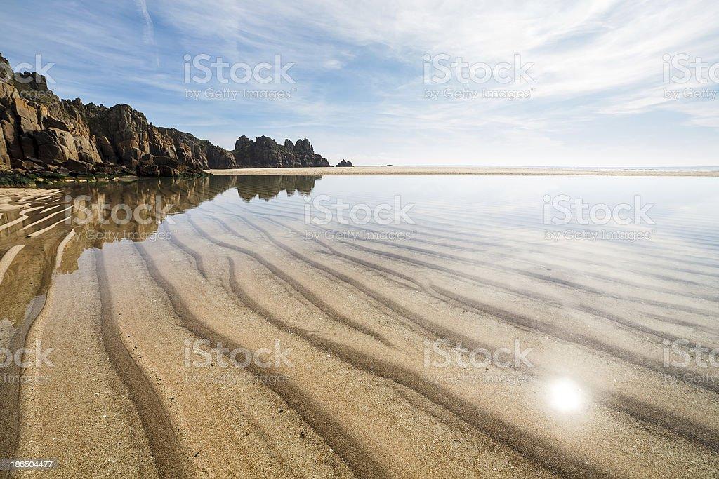 Pedn Vounder Beach Cornwall England stock photo