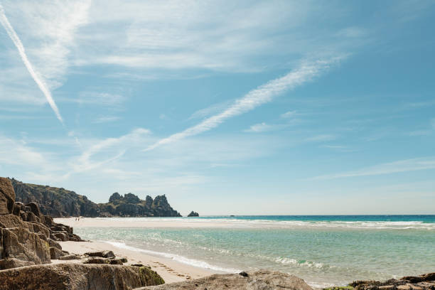 pedn vounder beach - cornwall stock photos and pictures