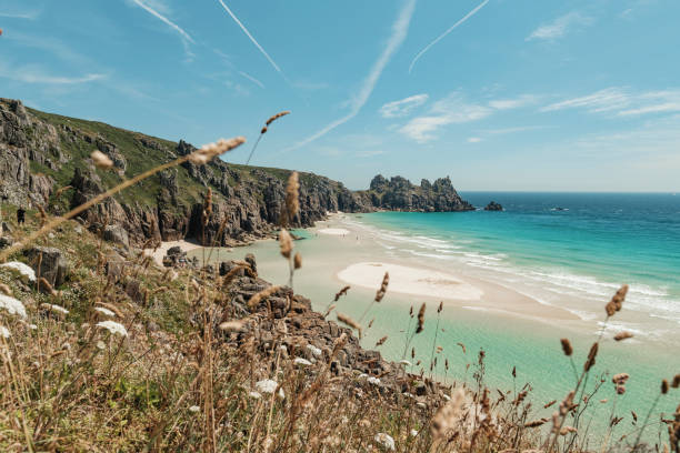 pedn vounder beach - cornwall stock pictures, royalty-free photos & images
