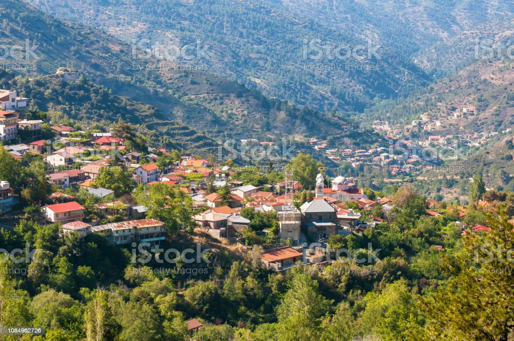 Pedoulas, a popular touristic village in the Nicosia District of Cyprus stock photo