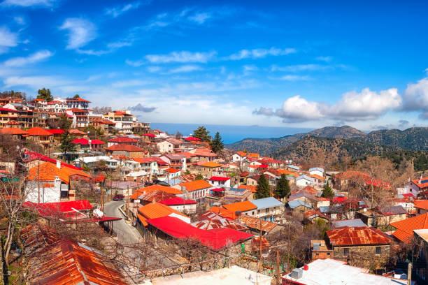 Pedoulas Dorf in Troodos Bergen, Zypern, Panoramablick – Foto