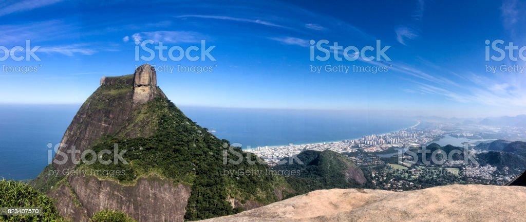 Pedra da Gávea e Barra da Tijuca stock photo