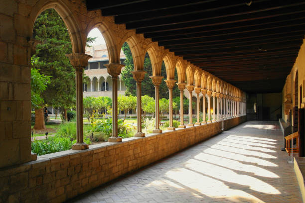 Pedralbes, Barcelona, Spain. Columns of the monastery Pedralbes, Barcelona, Spain. Columns of the monastery monastery stock pictures, royalty-free photos & images