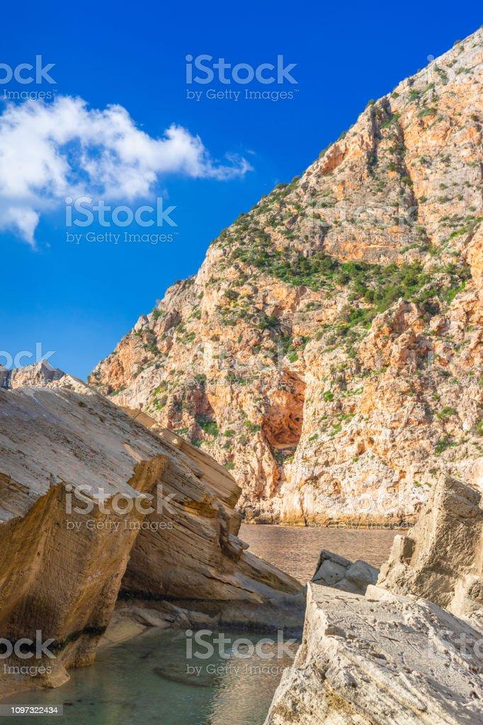 Pedrera De Cala Dhort Cove Ibiza Spain Stock Photo