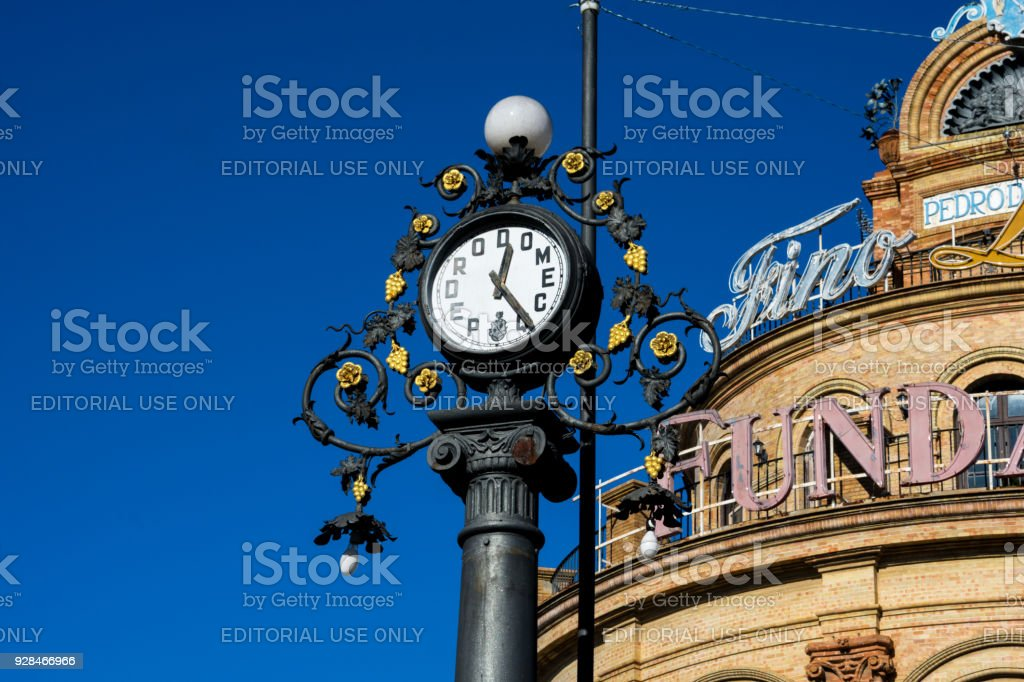Pedro Domecq clock Monument and The Blue Rooster (El Gallo Azul) stock photo
