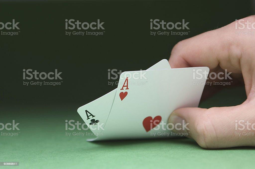 Peeking at Cards 1 (Clipping Path) royalty-free stock photo