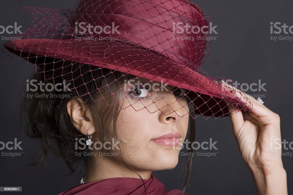 Peeking out from under hat royalty-free stock photo