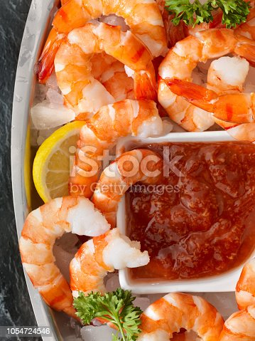 Peel and Eat Shrimp on Ice with Cocktail Sauce