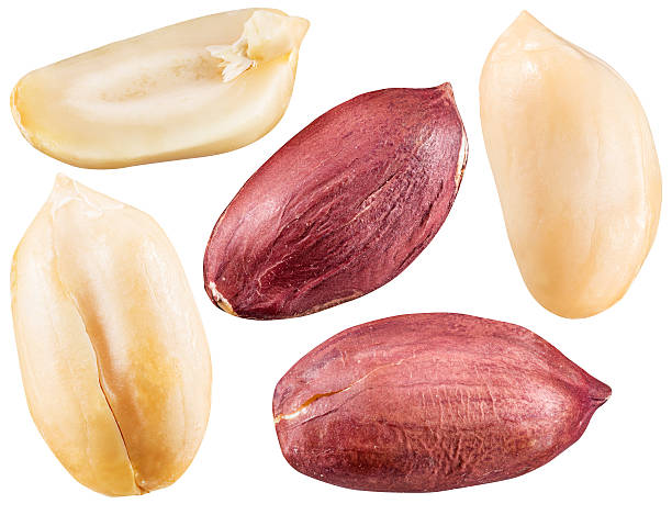 Peeled and opened peanuts. stock photo