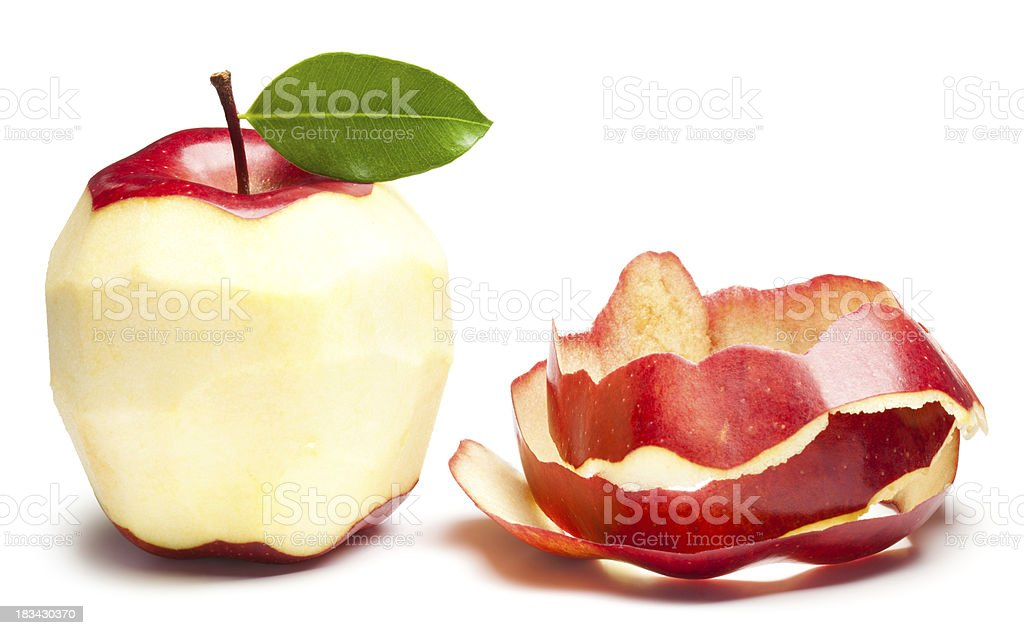 Peeled apple stock photo
