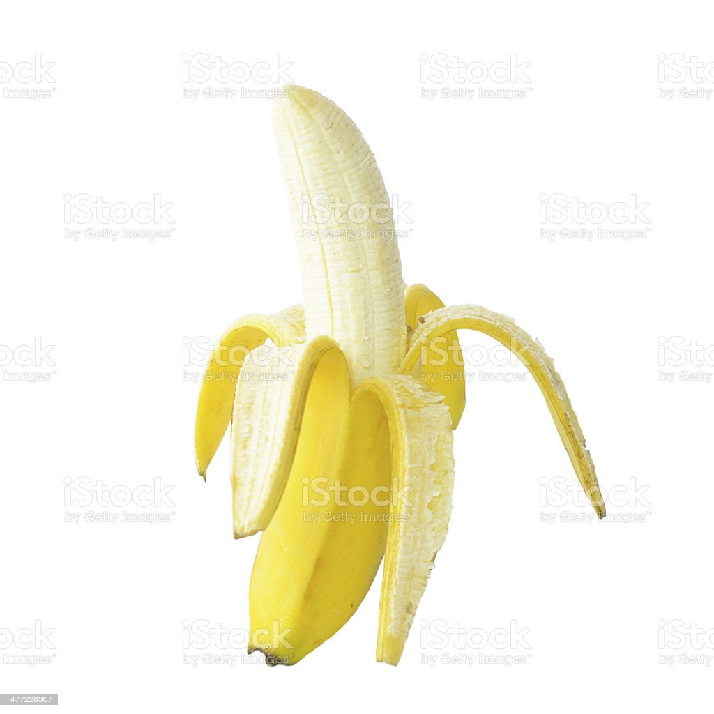 Peeled Banana Isolated on White Background stock photo