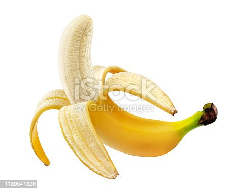 One open peeled banana isolated on white background with clipping path