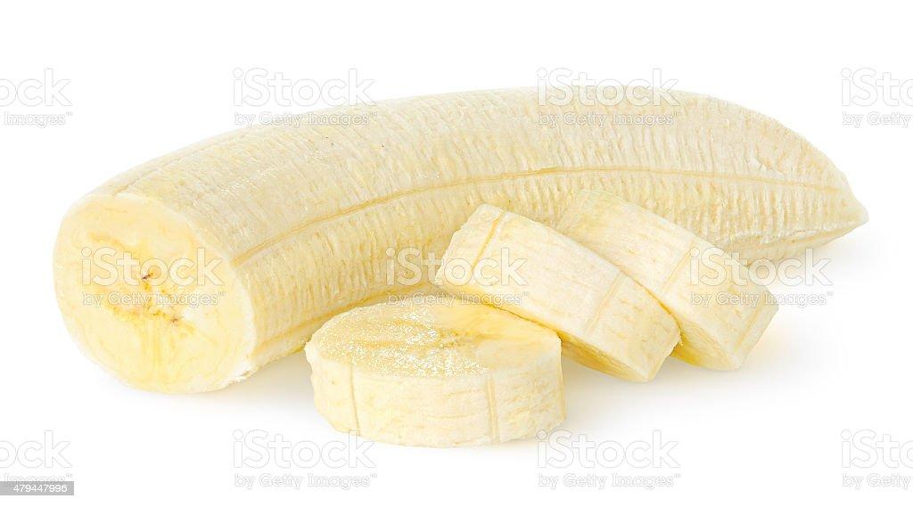Épluché banane isolé sur blanc - Photo
