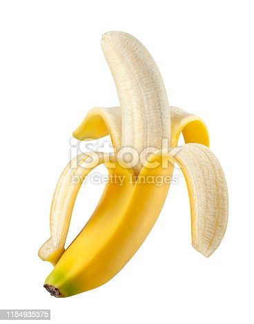 Peeled banana on white background.