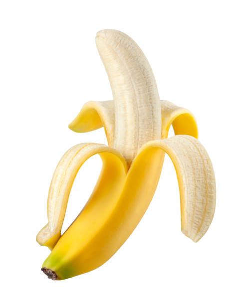 Peeled banana on white background. Photo with clipping path. stock photo
