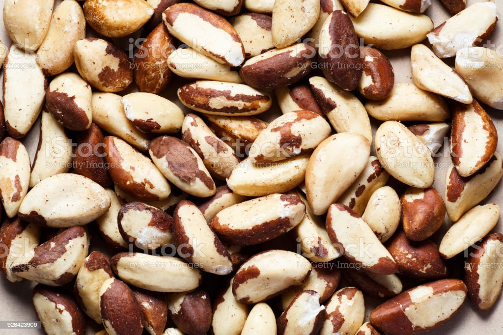 Peeled Brazil nuts close-up stock photo