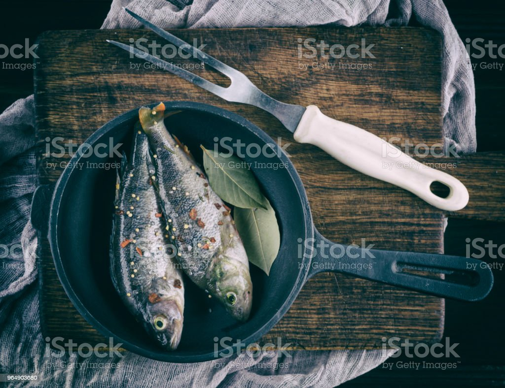peeled fish from scales with spices royalty-free stock photo