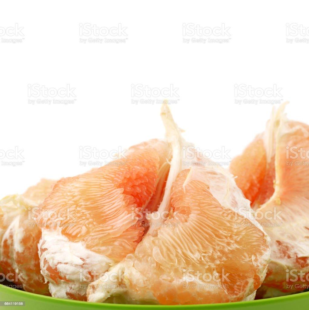 Peeled grapefruits fruit, Isolated on White   background foto stock royalty-free