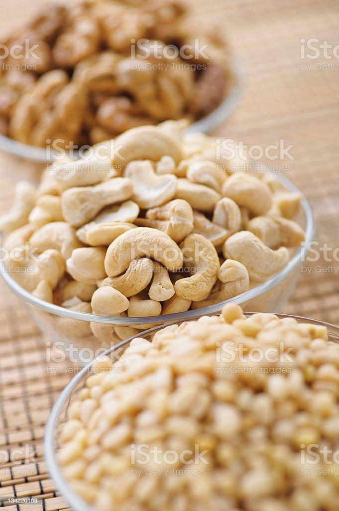 peeled hazelnuts (walnut, cashew, pine) royalty-free stock photo