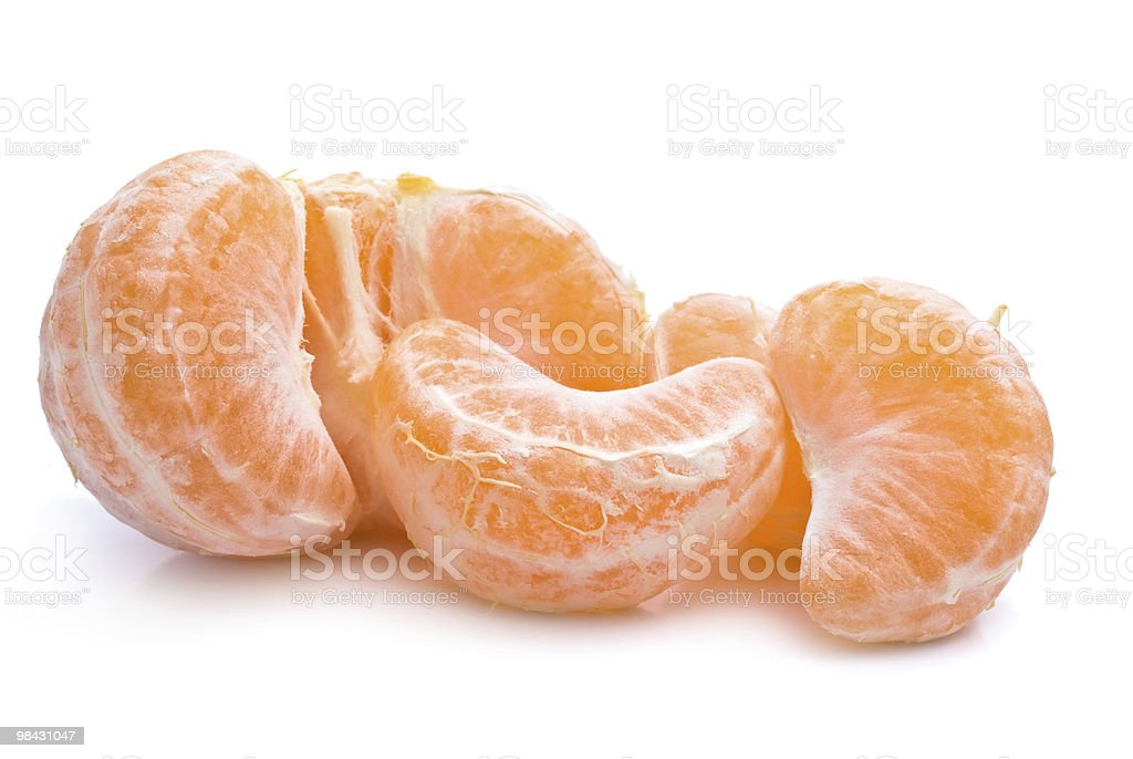 Peeled mandarin on a white background royalty-free stock photo
