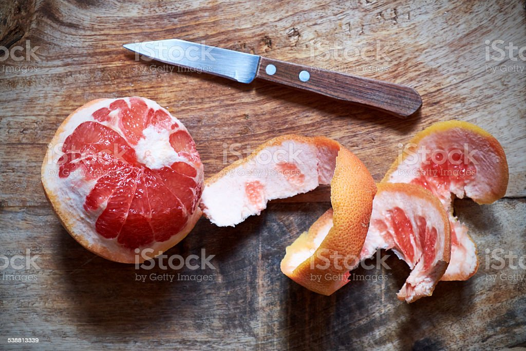 Peeled Pink Grapefruit stock photo