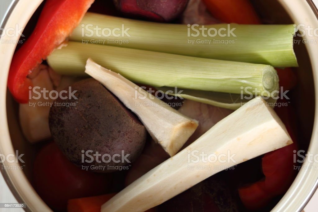 Peeled vegetables in saucepan to make soup royalty-free stock photo
