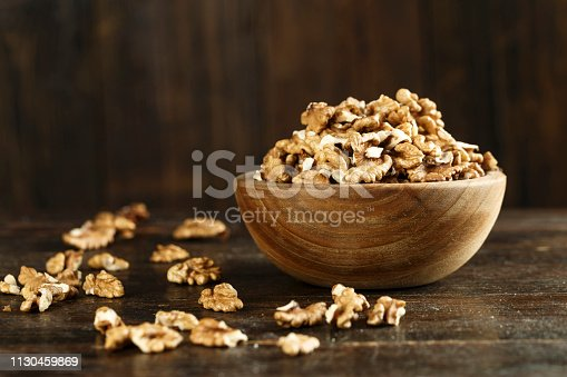 peeled walnuts in a plate on the table. space for text