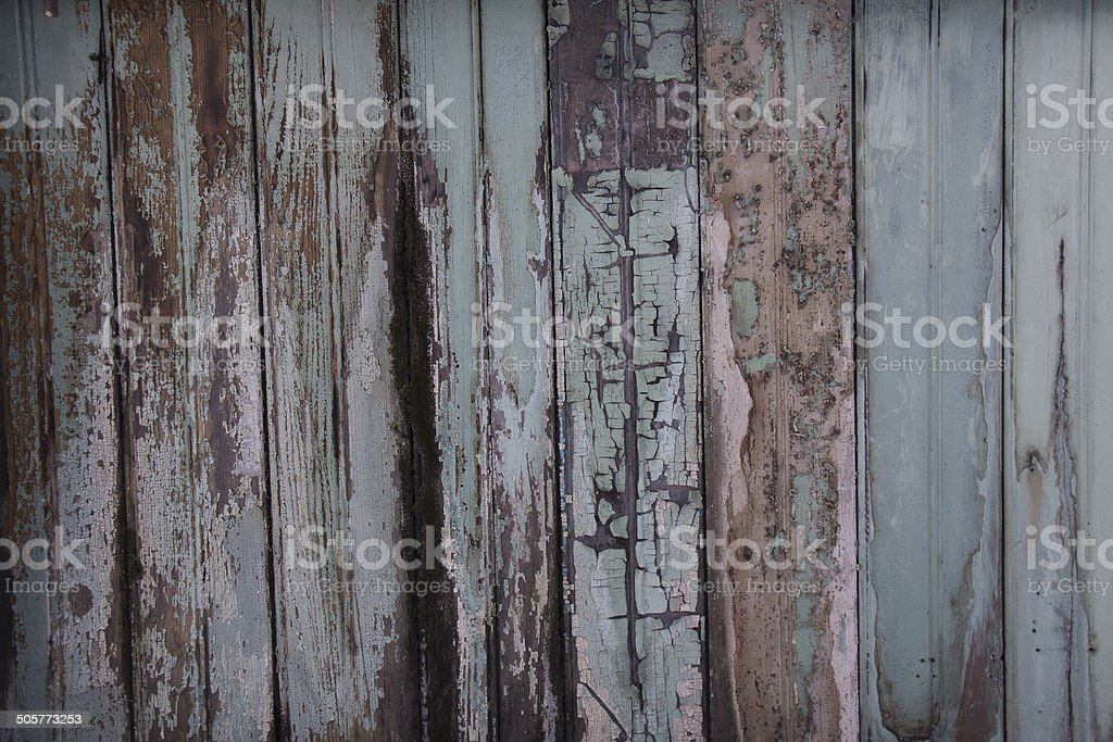 Peeling Blue Paint on Old Wooden Boards stock photo
