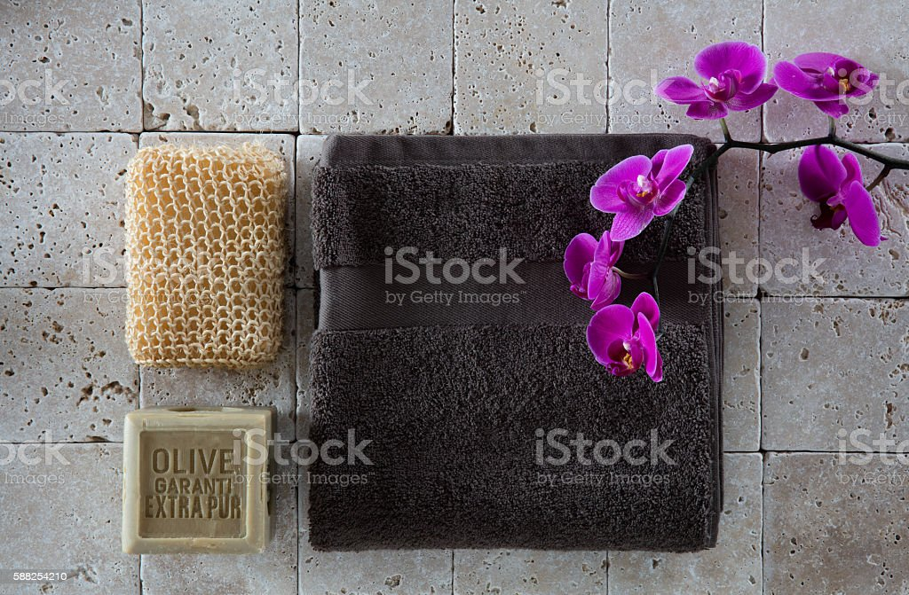 peeling concept on beige limestone for cleansing cure, flat lay stock photo