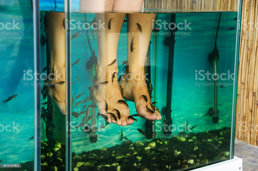 Peeling feet fish. stock photo