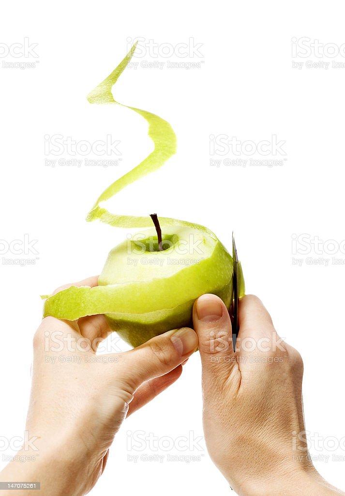 peeling green apple royalty-free stock photo