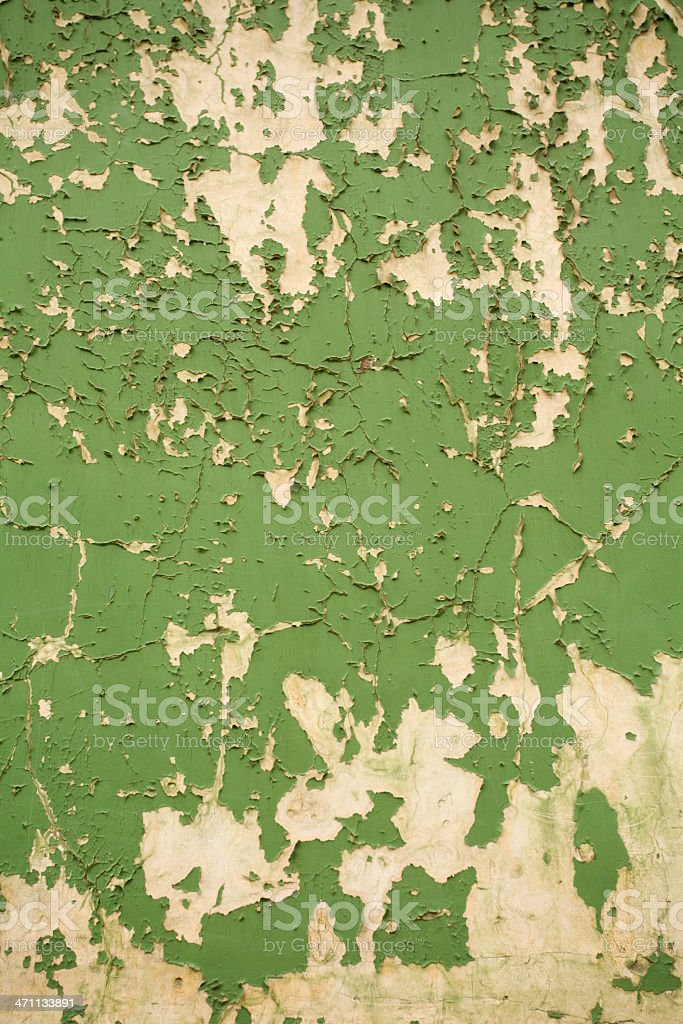 Peeling green paint stock photo