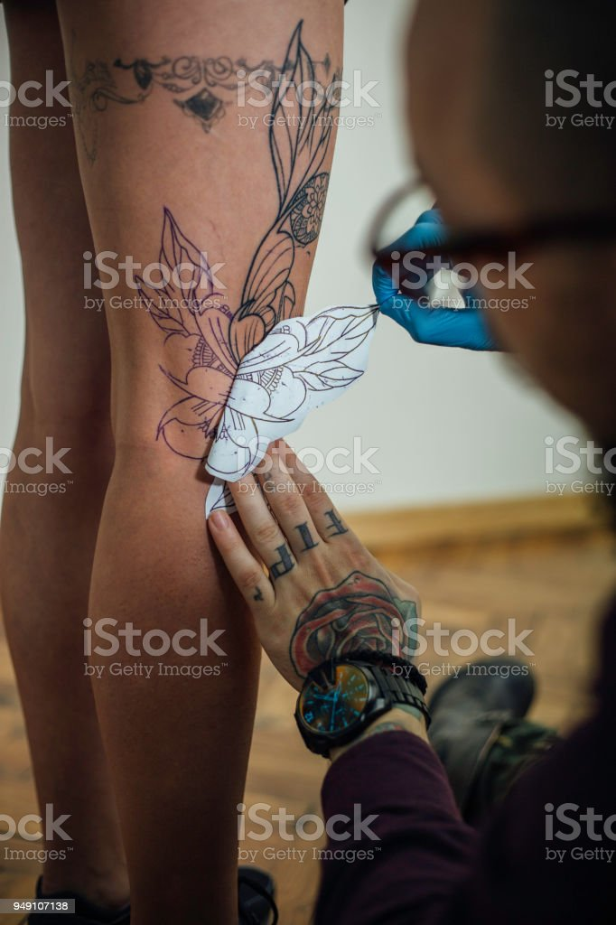 Peeling Off The Tattoo Stencil Stock Photo More Pictures Of Adult