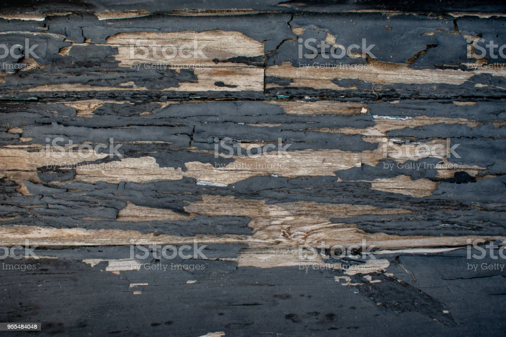 peeling old paint with wood horizontal stock photo