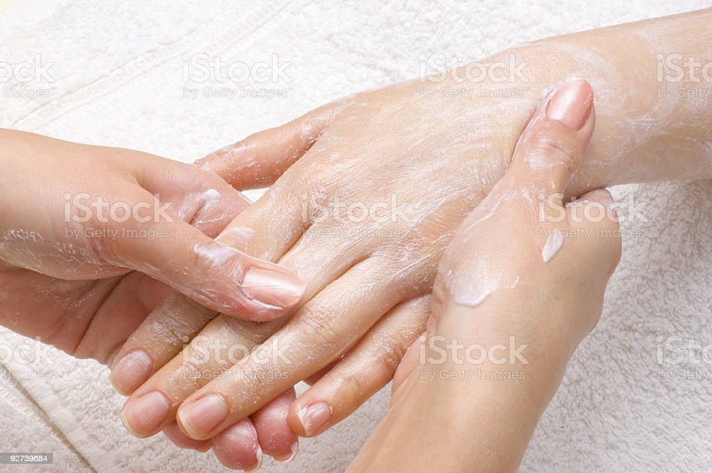 peeling or moisturizing procedure stock photo