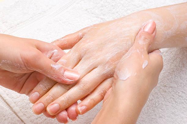 peeling or moisturizing procedure stock photo