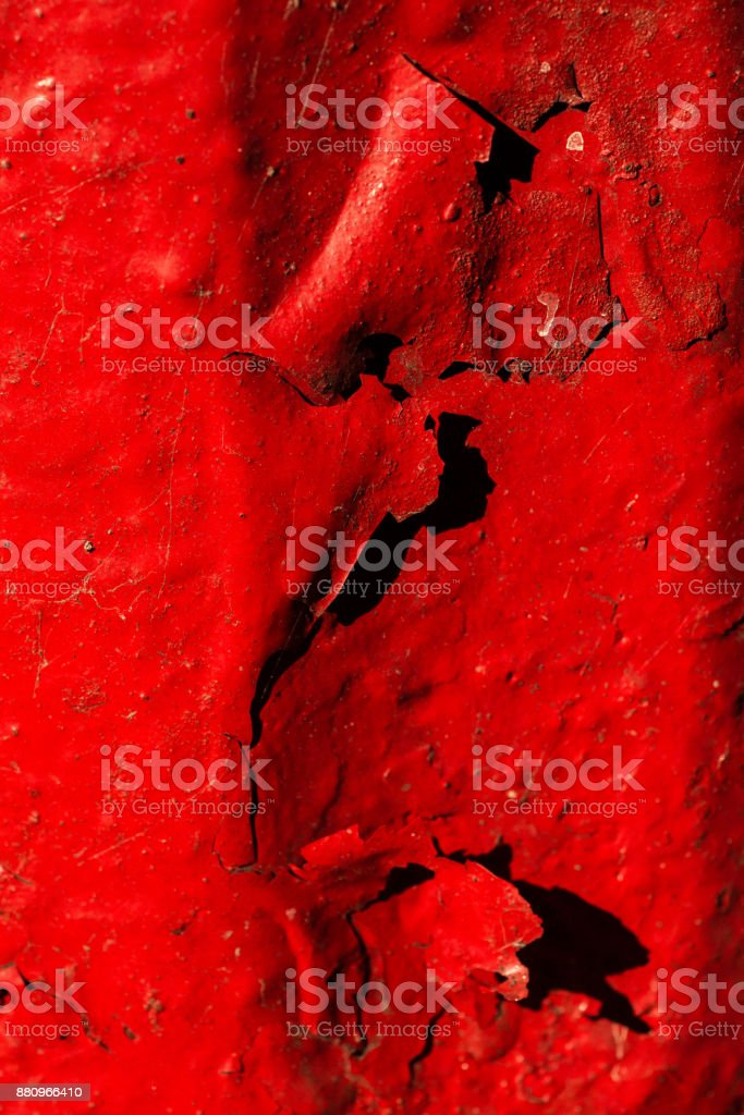 Peeling Paint in Brilliant Red stock photo