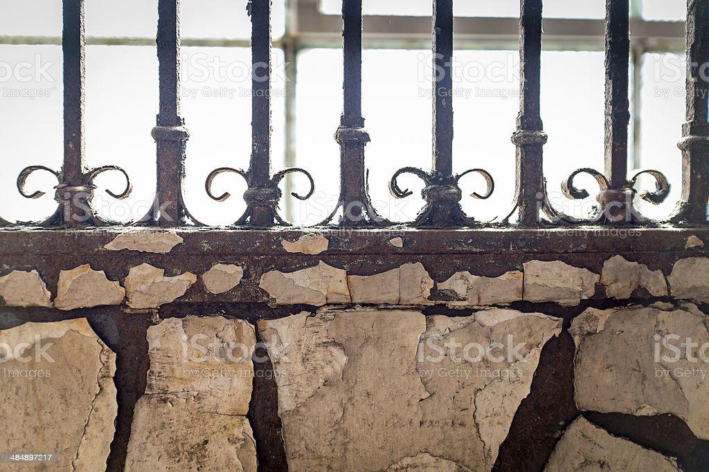 Peeling Wall And Rod Iron royalty-free stock photo