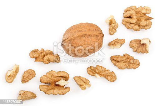 peelled Walnuts isolated on white background with copy space for your text. Top view. Flat lay.