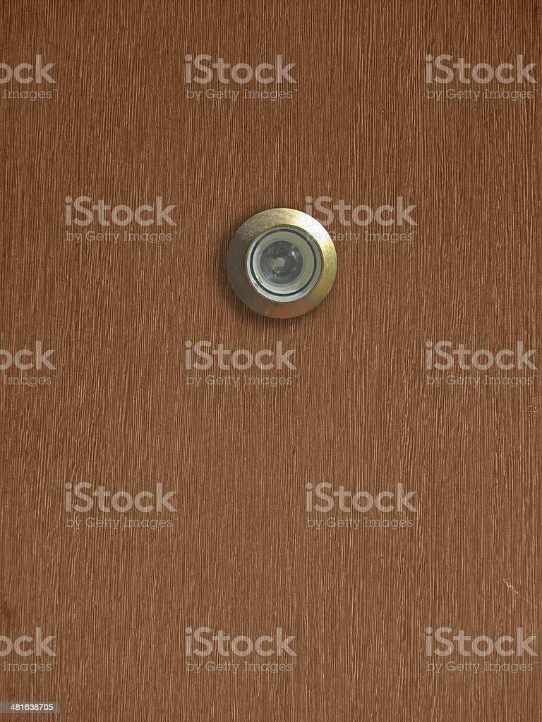 Peephole in Front Door stock photo