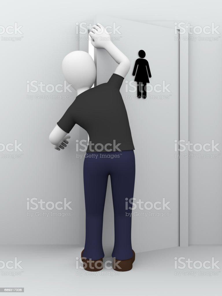 peeping girls toilet stock photo