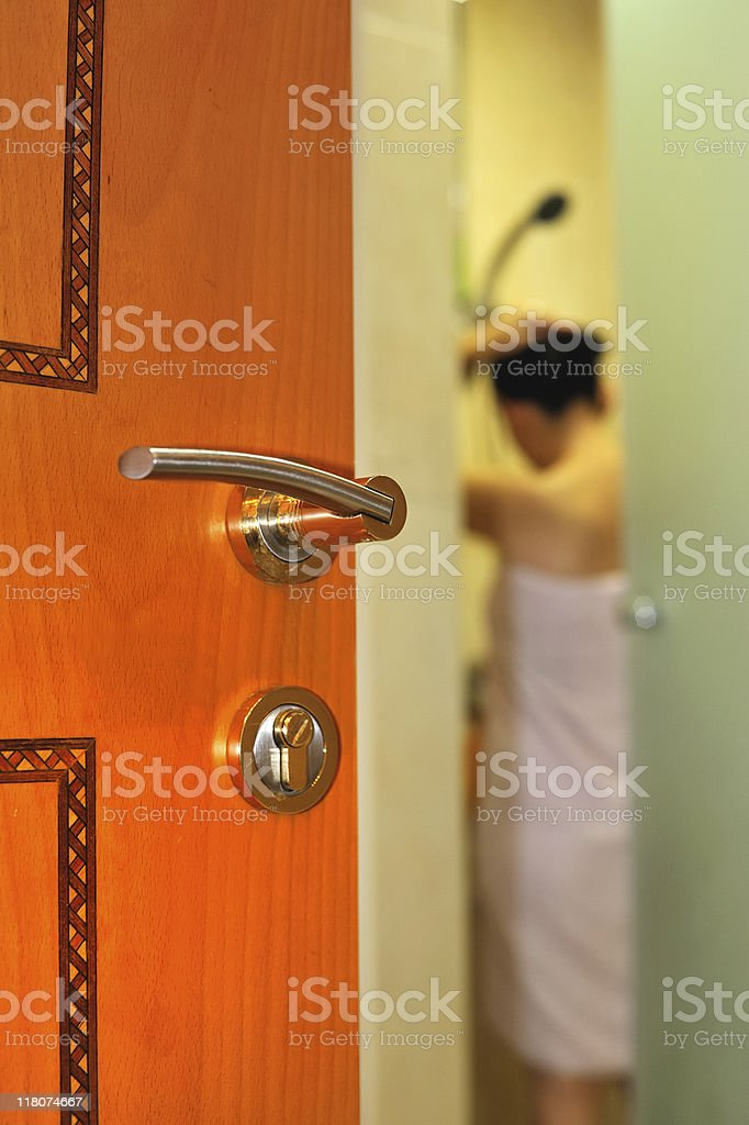 peeping stock photo