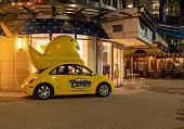 National Harbor, MD - 6 November 2019: Yellow Volkswagen Beetle car as brand for Peeps and Company near Washington DC