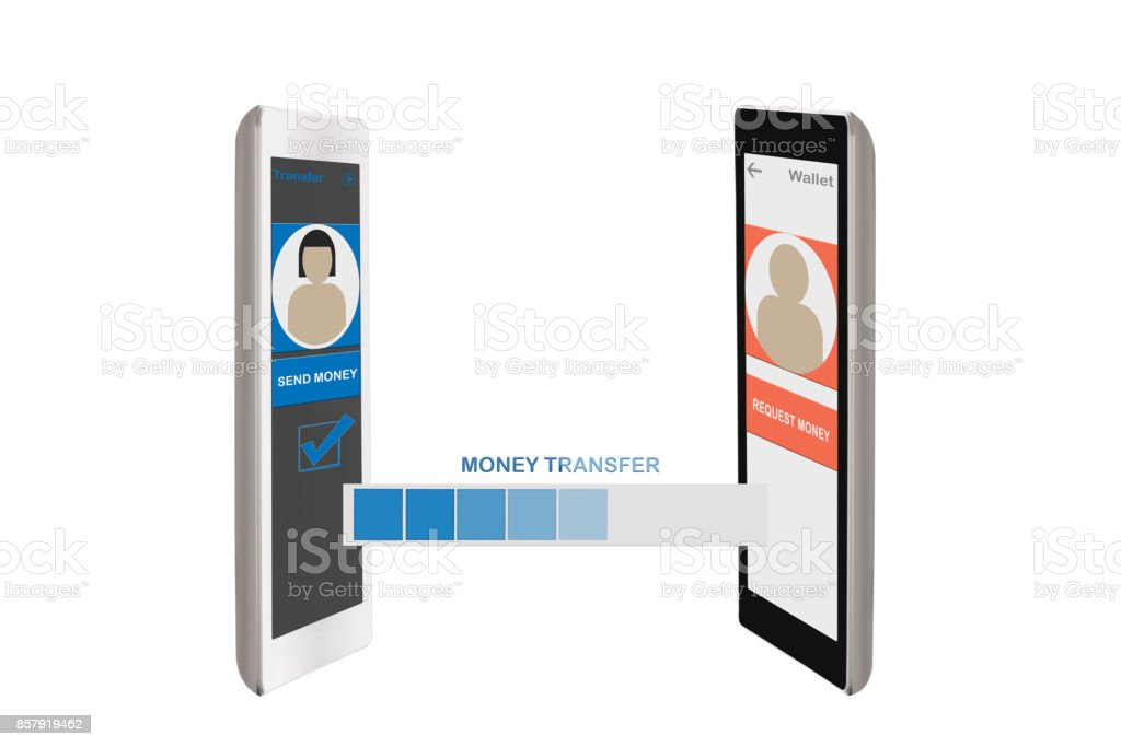 Peer to peer transfer money stock photo